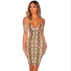Dresses & Skirts - Nude Snake Print Spaghetti Strap Dress